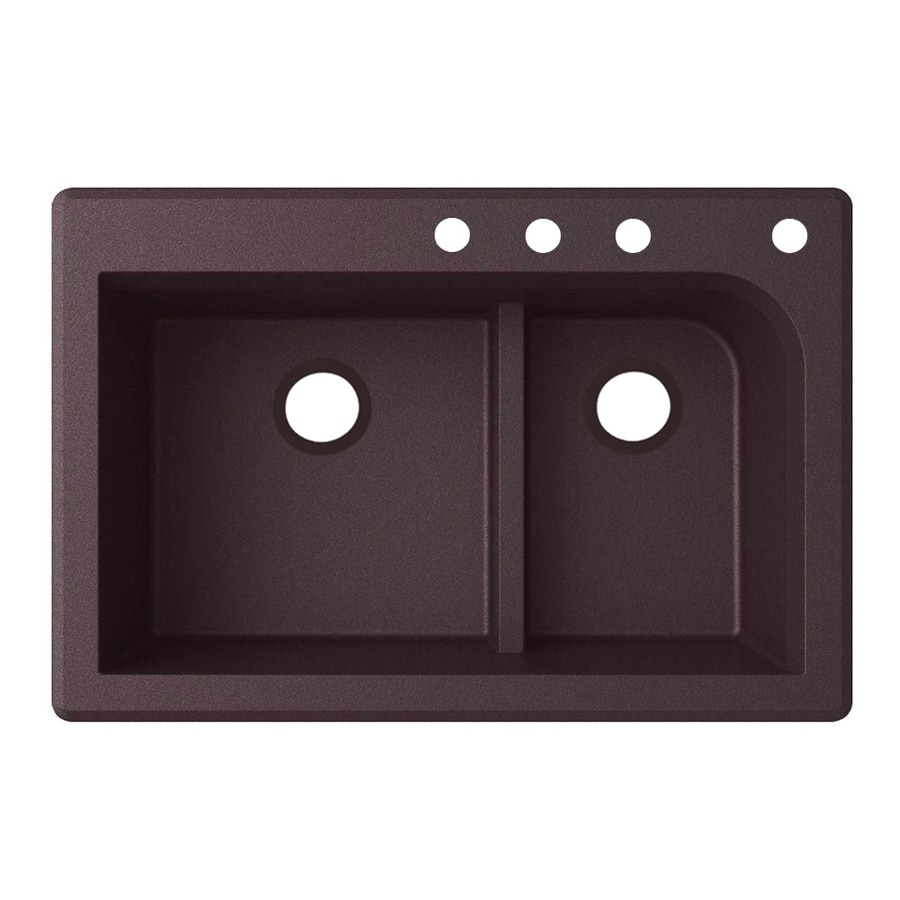 Swanstone 22-in x 33-in Espresso Double-Basin Granite Drop-in or Undermount 4-Hole Residential Kitchen Sink