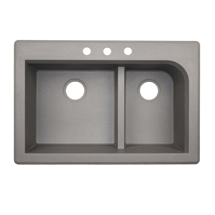 Swanstone 33 In X 22 In Metallico Double Basin Drop In Or