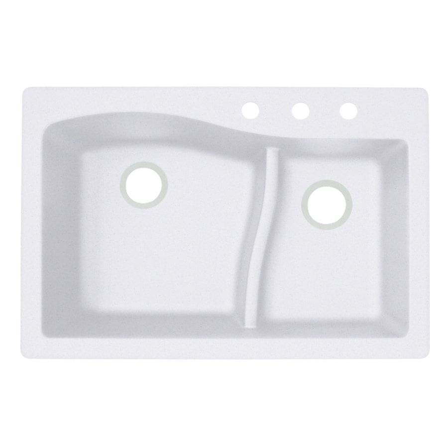 Swanstone 22-in x 33-in Bianca Double-Basin Granite Drop-in or Undermount 3-Hole Residential Kitchen Sink