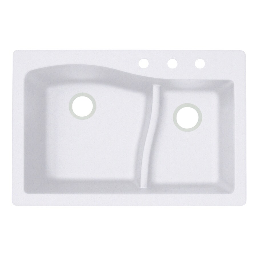 Swanstone 33-in x 22-in Bianca Double-Basin Granite Drop-In 3-Hole Residential Kitchen Sink