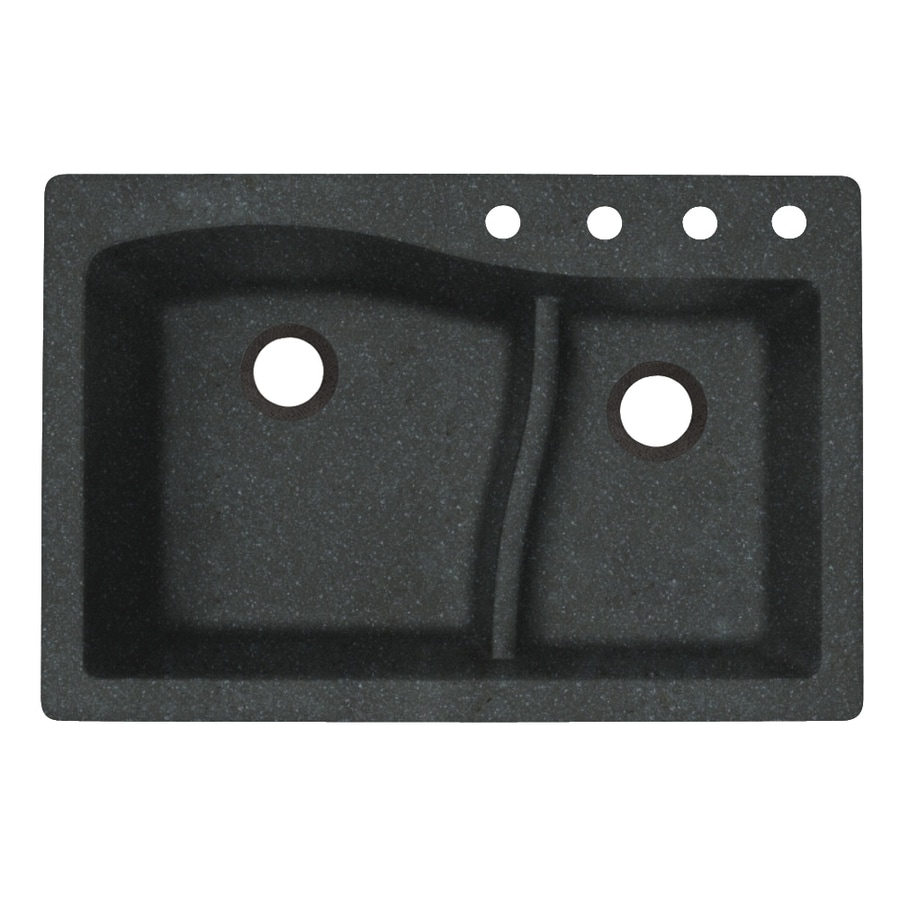 Swanstone 33.0000-in x 22.0000-in Nero Double-Basin Granite Drop-in or Undermount 4-Hole Residential Kitchen Sink