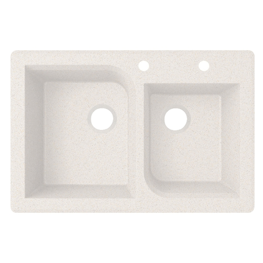 Swanstone 33-in x 22-in Bianca Double-Basin Granite Drop-In Or Undermount 2-Hole Residential Kitchen Sink
