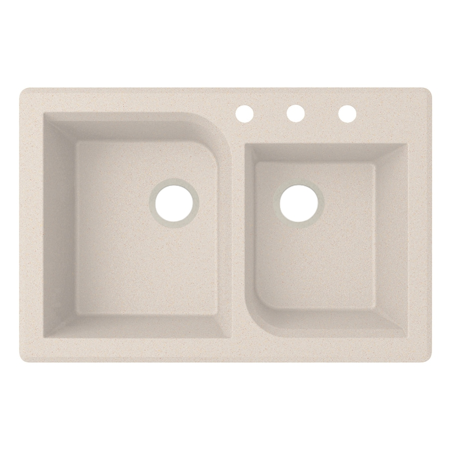 Swanstone 22-in x 33-in Granito Double-Basin Granite Drop-in or Undermount 3-Hole Residential Kitchen Sink