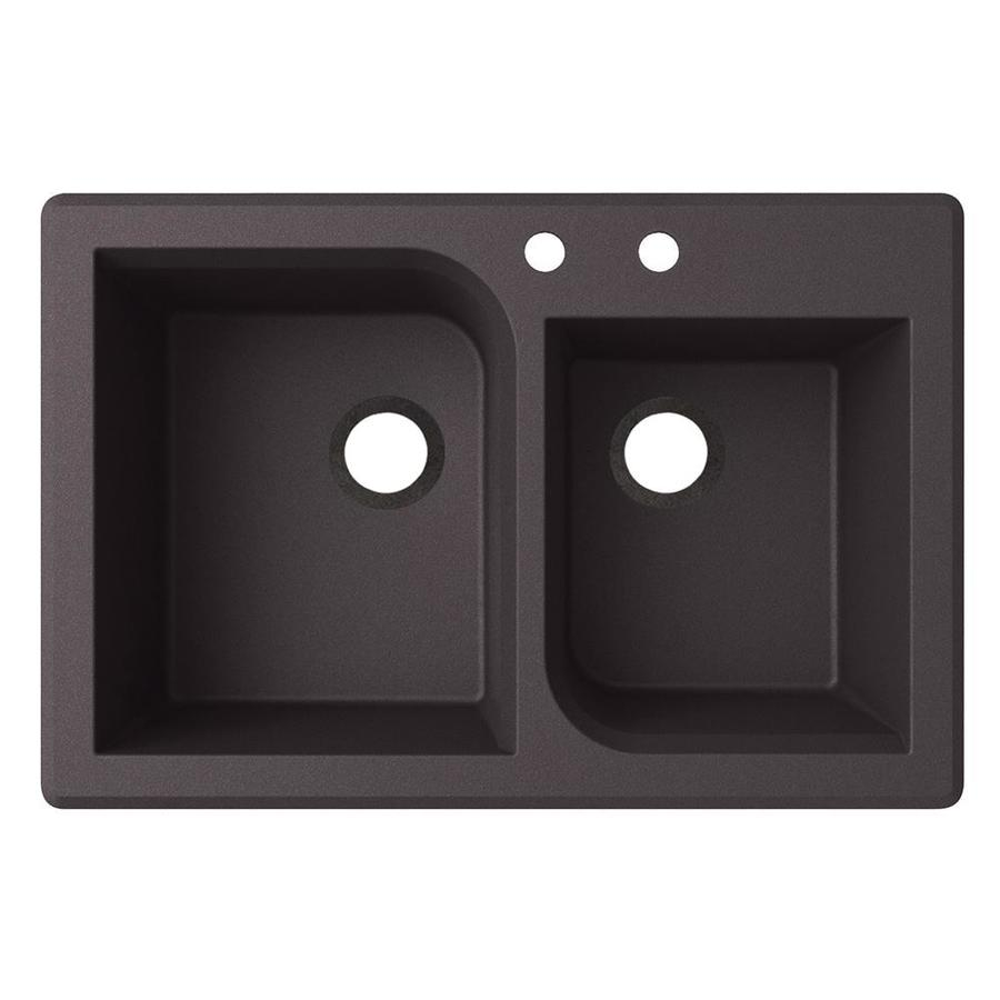 Swanstone 33-in x 22-in Nero Double-Basin Granite Drop-In 2-Hole Residential Kitchen Sink