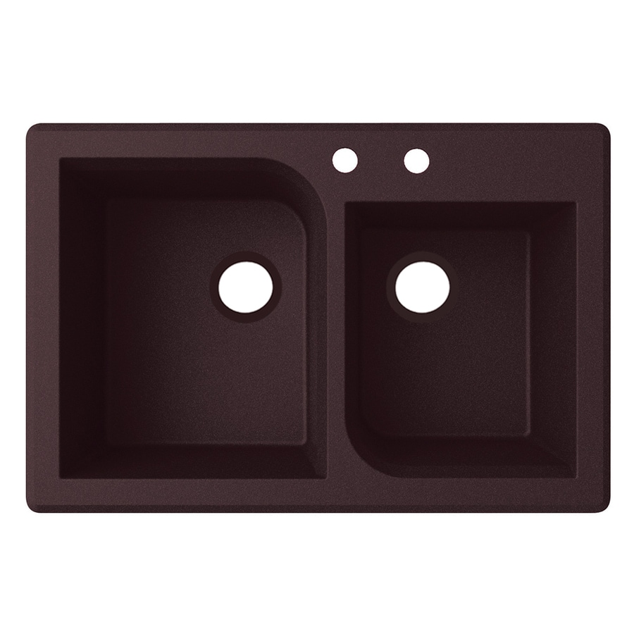 Swanstone 33-in x 22-in Espresso Double-Basin Granite Drop-In 2-Hole Residential Kitchen Sink