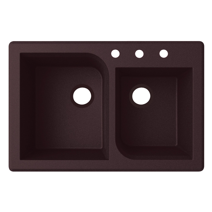 Swanstone 22-in x 33-in Espresso Double-Basin Granite Drop-in or Undermount 3-Hole Residential Kitchen Sink
