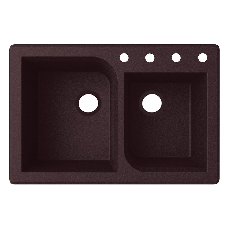 Swanstone 33.0000-in x 22.0000-in Espresso Double-Basin Granite Drop-in or Undermount 4-Hole Residential Kitchen Sink
