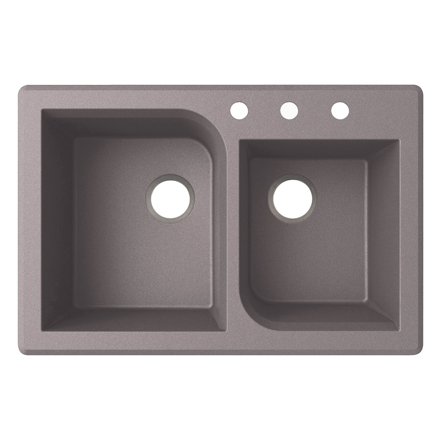 Swanstone 22-in x 33-in Metallico Double-Basin Granite Drop-in or Undermount 3-Hole Residential Kitchen Sink