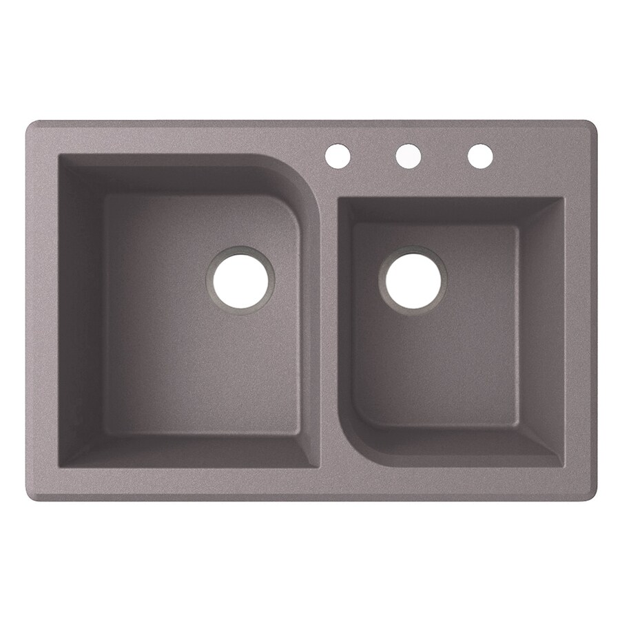 Swanstone 22-in x 33-in Metallico Single-Basin-Basin Granite Drop-in or Undermount 3-Hole Residential Kitchen Sink