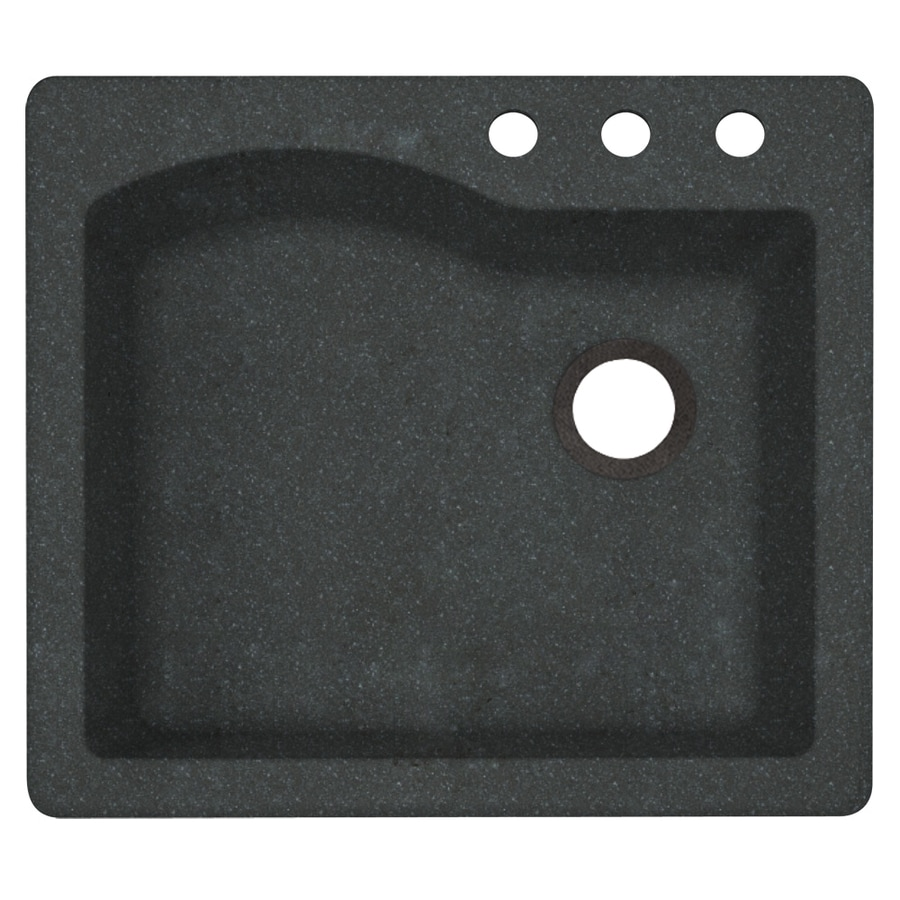 Swanstone 25.0000-in x 22.0000-in Nero Single-Basin Granite Drop-in or Undermount 3-Hole Residential Kitchen Sink