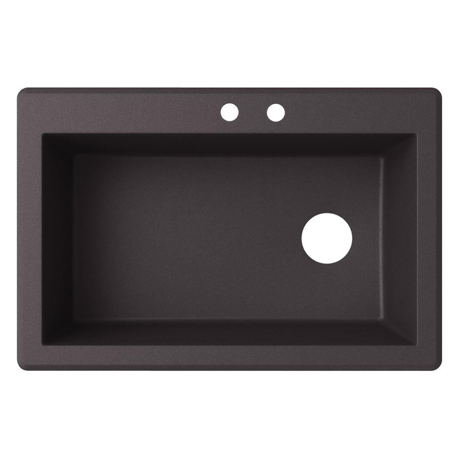 Swanstone 22-in x 33-in Nero Single-Basin-Basin Granite Drop-in or Undermount 2-Hole Residential Kitchen Sink
