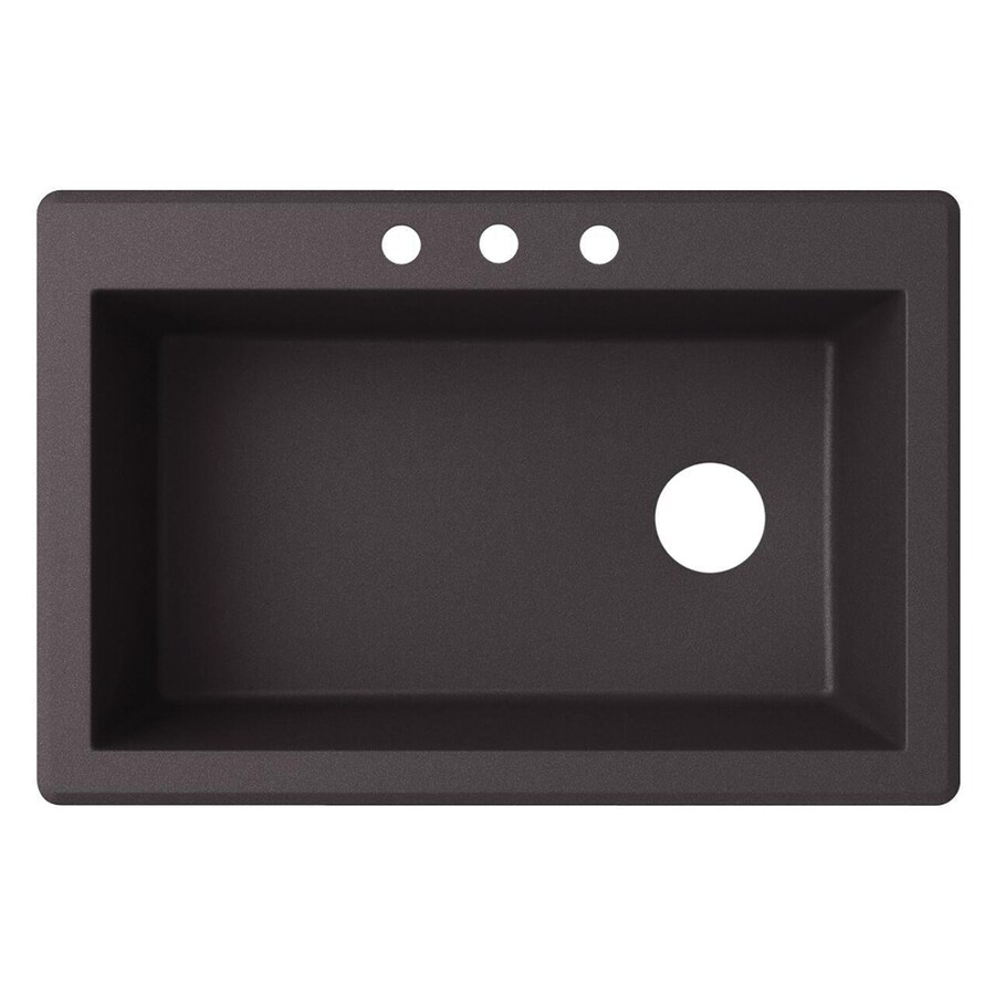 Swanstone 33-in x 22-in Nero Single-Basin Granite Drop-In 3-Hole Residential Kitchen Sink
