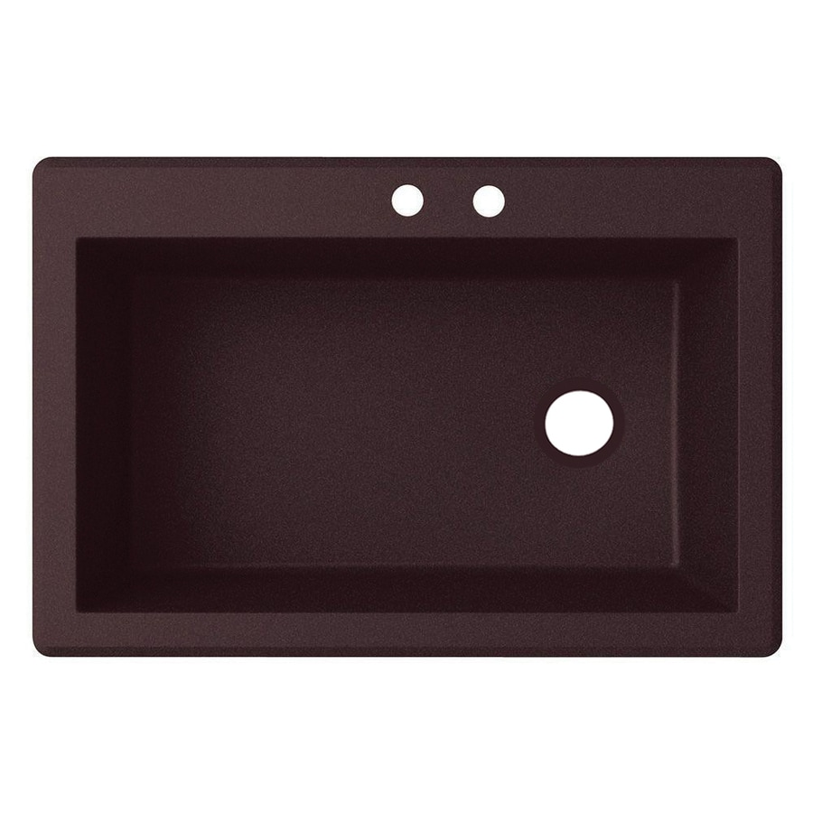 Swanstone 22-in x 33-in Espresso Single-Basin-Basin Granite Drop-in or Undermount 2-Hole Residential Kitchen Sink
