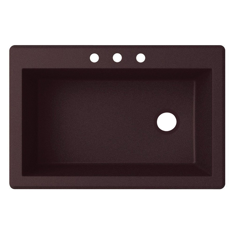 Swanstone 22.0000-in x 33.0000-in Espresso Single-Basin Granite Drop-in or Undermount 3-Hole Residential Kitchen Sink