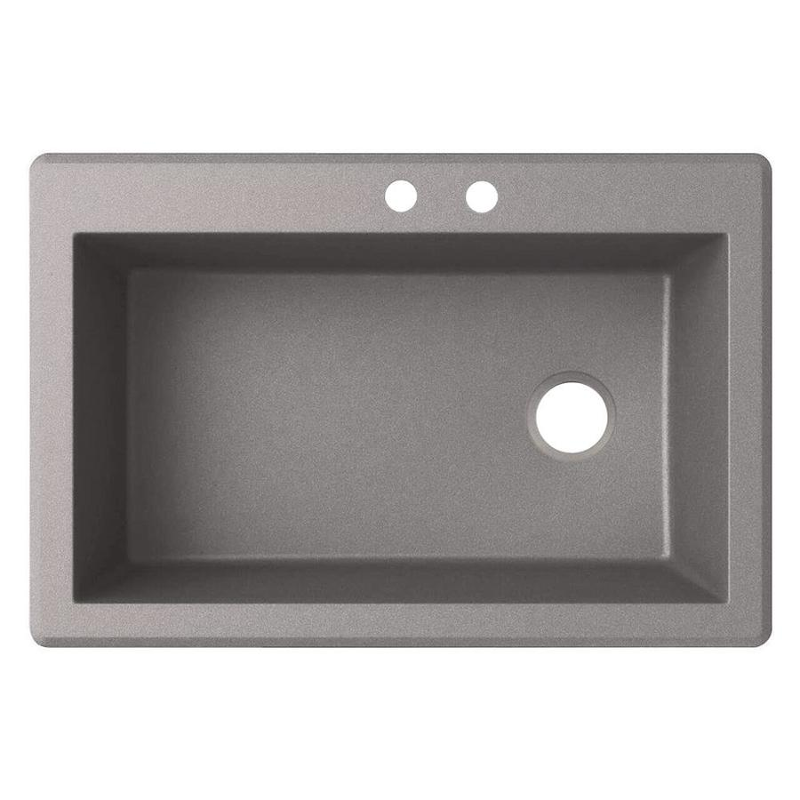 Swanstone 33-in x 22-in Metallico Single-Basin Granite Drop-In 2-Hole Residential Kitchen Sink
