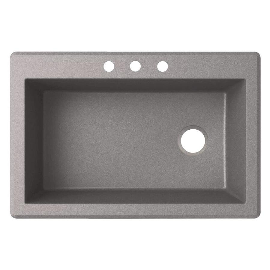 Swanstone 22-in x 33-in Metallico Single-Basin Granite Drop-in or Undermount 3-Hole Residential Kitchen Sink