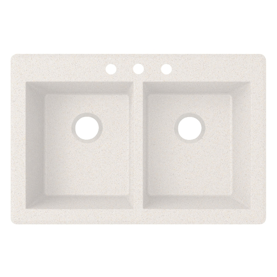 Swanstone 33.0000-in x 22.0000-in Bianca Double-Basin Granite Drop-in or Undermount 3-Hole Residential Kitchen Sink