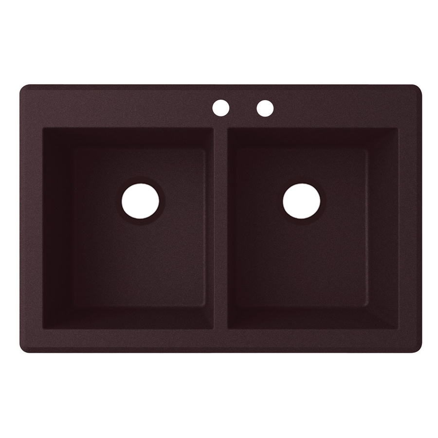 Swanstone 33-in x 22-in Espresso Double-Basin Granite Drop-In Or Undermount 2-Hole Residential Kitchen Sink