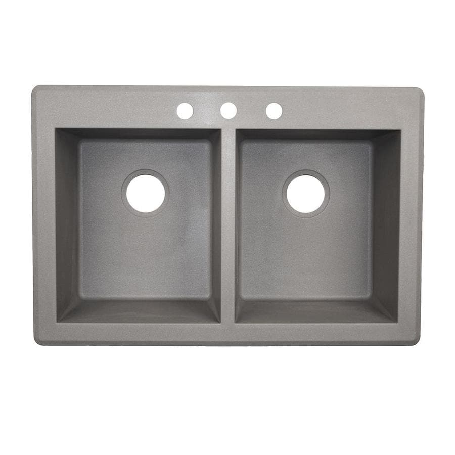 Swanstone 33-in x 22-in Metallico Double-Basin Granite Drop-In 3-Hole Residential Kitchen Sink