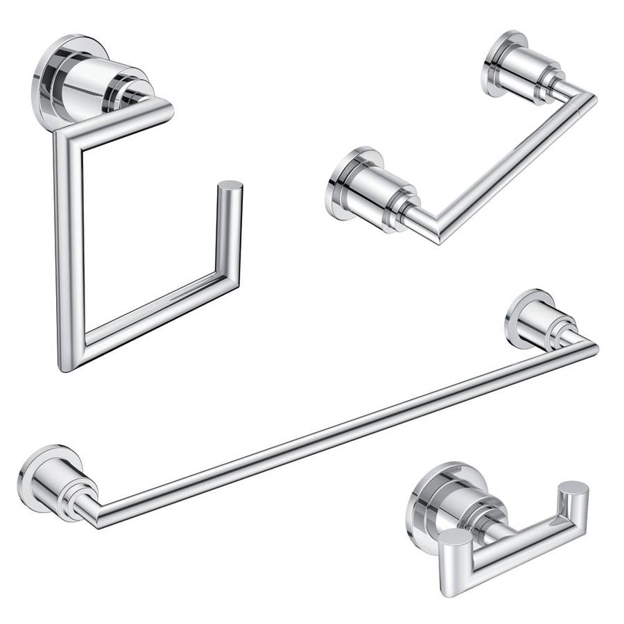 Moen 4 Piece Arris Chrome Decorative Bathroom Hardware Set