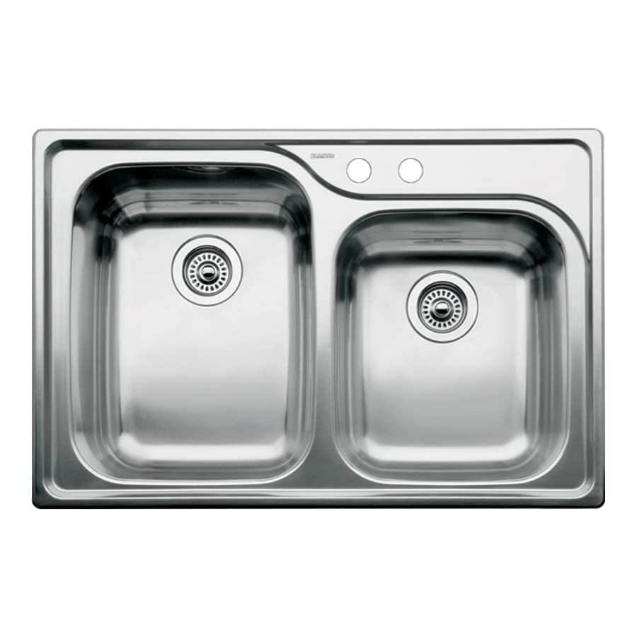 BLANCO Supreme 22-in x 33-in Satin Double-Basin Drop-in 2-Hole Residential Kitchen Sink