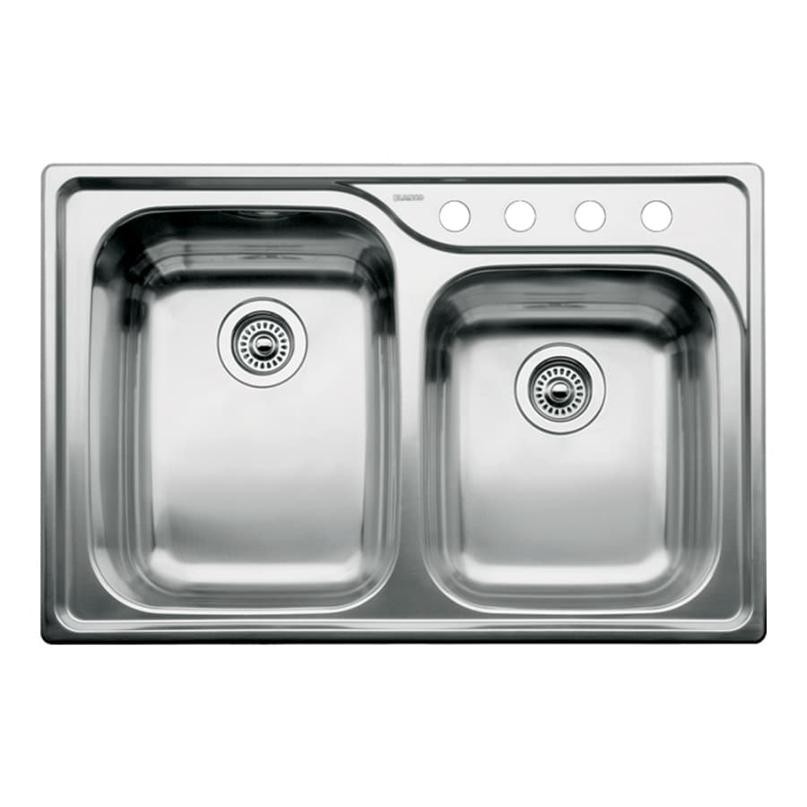 BLANCO Supreme 22.0-in x 33.0-in Satin Double-Basin Stainless Steel Drop-in 4-Hole Residential Kitchen Sink