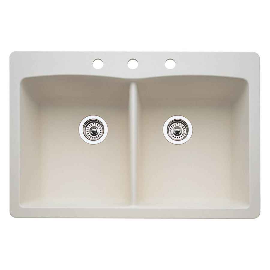 BLANCO Diamond 22.0-in x 33.0-in Biscuit Double-Basin Granite Drop-in or Undermount 3-Hole Residential Kitchen Sink