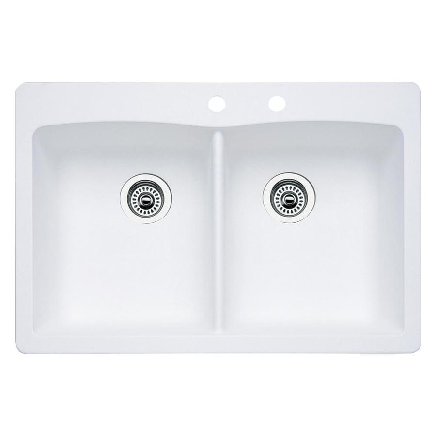White Double Kitchen Sink : Shop BLANCO Diamond 22-in x 33-in White Double-Basin Granite Drop-in ...