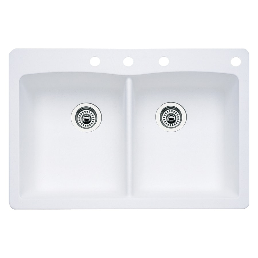 BLANCO Diamond 22-in x 33-in White Double-Basin Granite Drop-In 4-Hole Residential Kitchen Sink