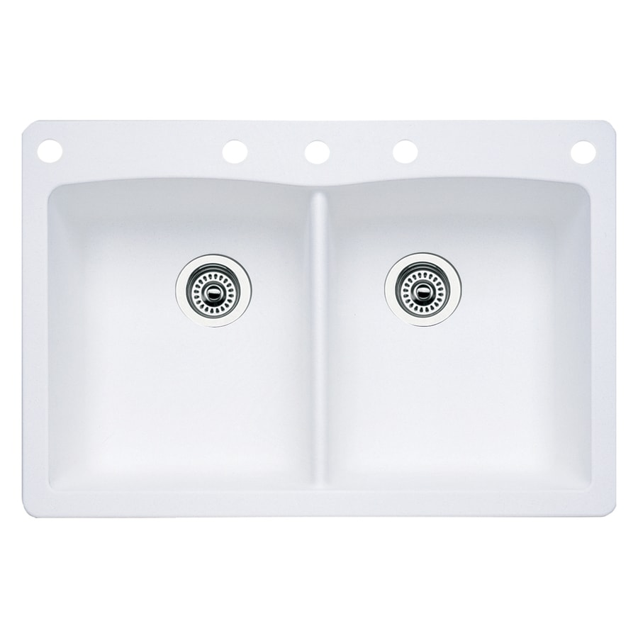BLANCO Diamond 22-in x 33-in White Single-Basin-Basin Granite Drop-in or Undermount 5-Hole Residential Kitchen Sink