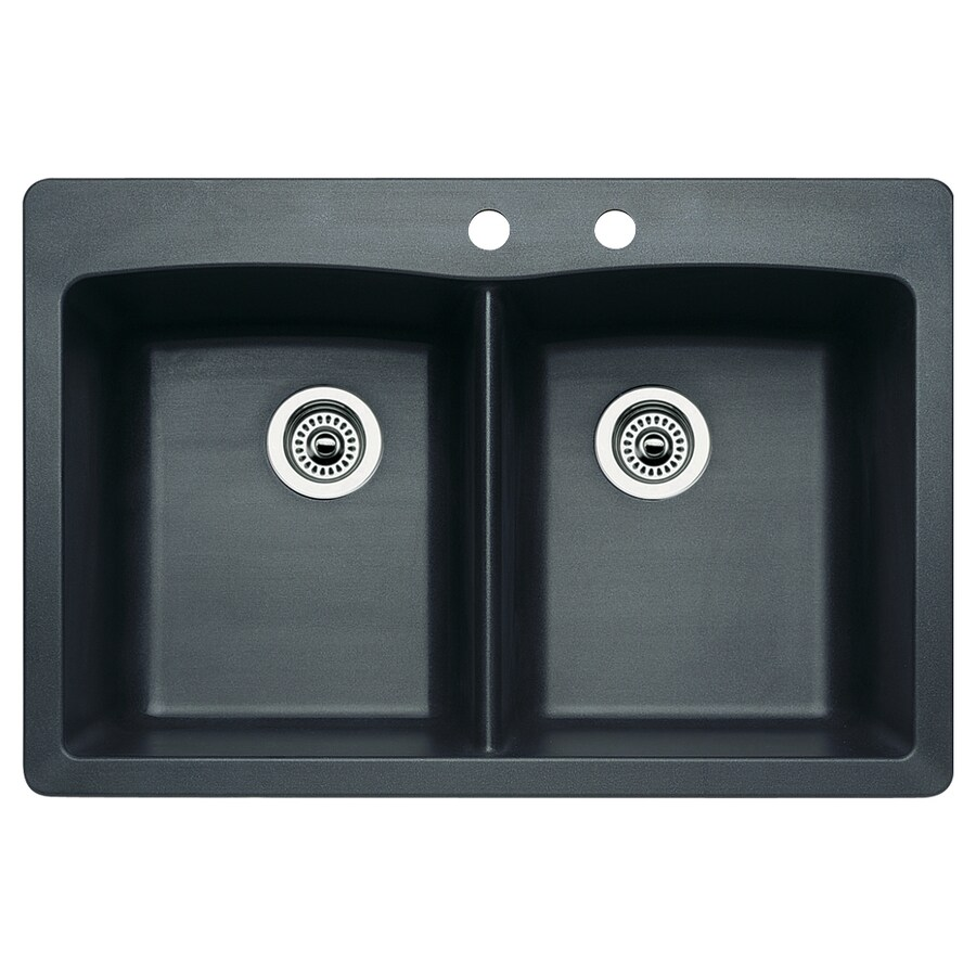 BLANCO Diamond 22-in x 33-in Anthracite Double-Basin Granite Drop-In 2-Hole Residential Kitchen Sink
