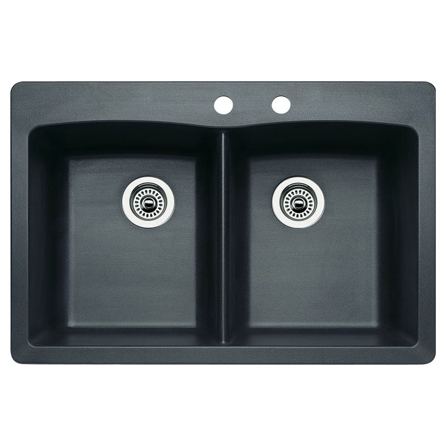 BLANCO Diamond 22.0-in x 33.0-in Anthracite Double-Basin Granite Drop-in or Undermount 2-Hole Residential Kitchen Sink