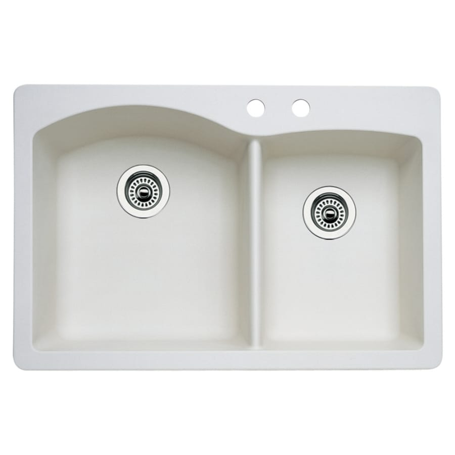 BLANCO Diamond 22-in x 33-in Biscuit Double-Basin Granite Drop-in or Undermount 2-Hole Residential Kitchen Sink