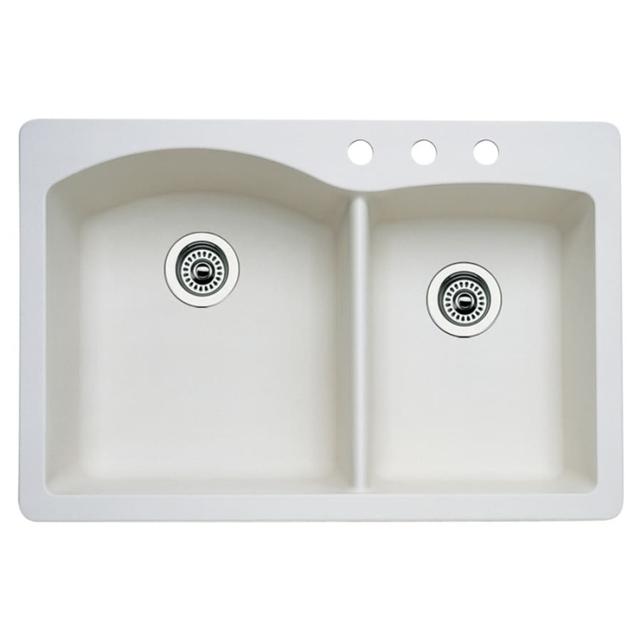 Shop BLANCO Diamond 22-in X 33-in Biscuit Double-Basin