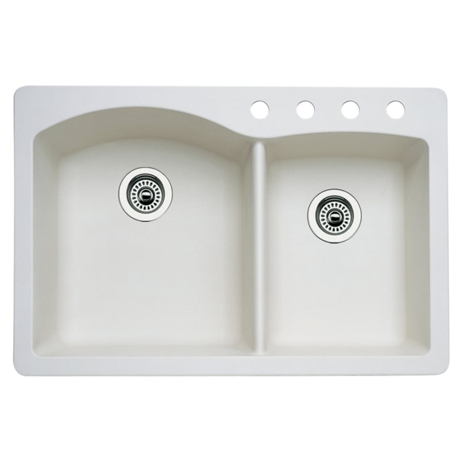 BLANCO Diamond 22.0-in x 33.0-in Biscuit Double-Basin Granite Drop-in or Undermount 4-Hole Residential Kitchen Sink