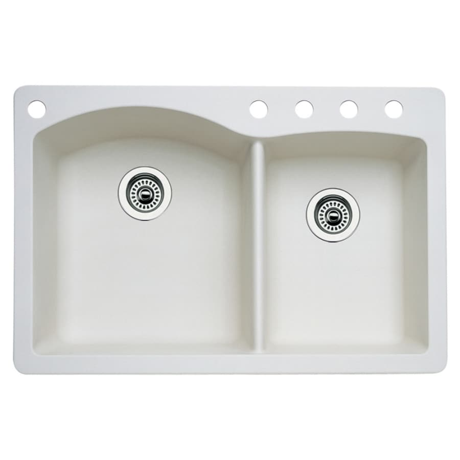 BLANCO Diamond 22.0-in x 33.0-in Biscuit Double-Basin Granite Drop-in or Undermount 5-Hole Residential Kitchen Sink