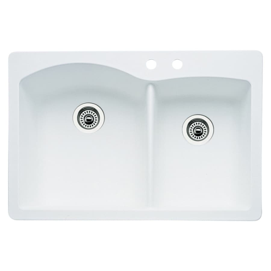 BLANCO Diamond 22-in x 33-in White Double-Basin Granite Drop-in or Undermount 2-Hole Residential Kitchen Sink