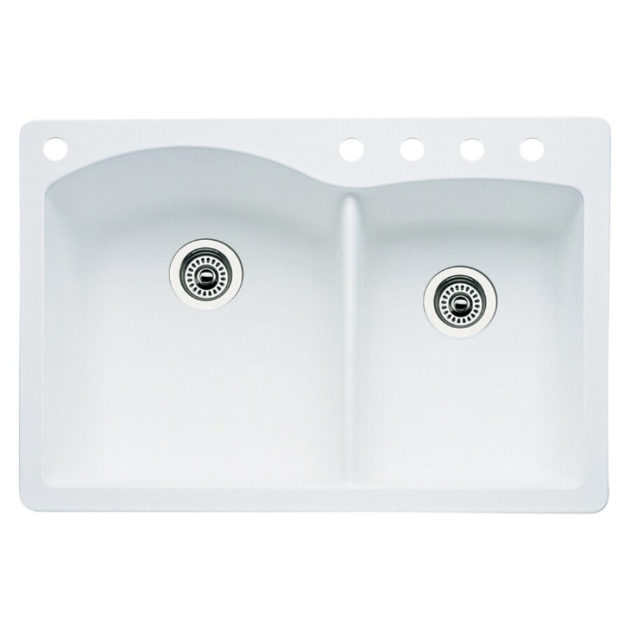 BLANCO Diamond 22-in x 33-in White Double-Basin Granite Drop-In 5-Hole Residential Kitchen Sink