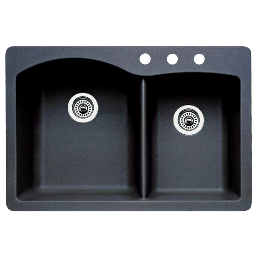 BLANCO Diamond 22-in x 33-in Anthracite Double-Basin Granite Drop-In 3-Hole Residential Kitchen Sink
