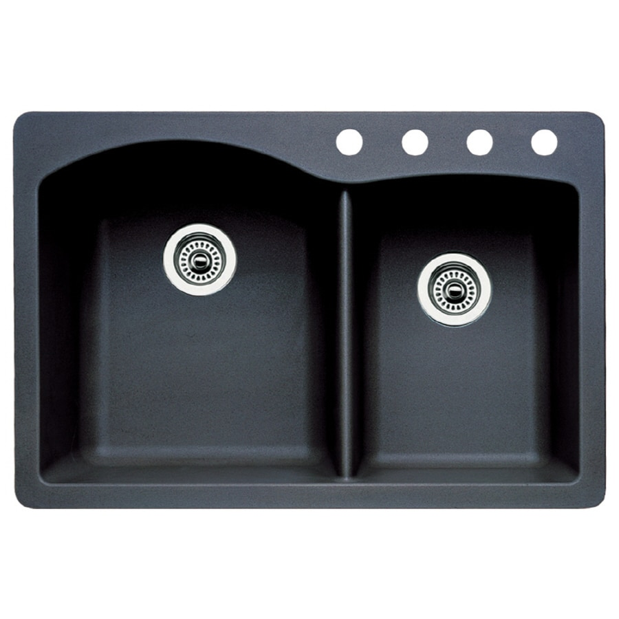 BLANCO Diamond 22-in x 33-in Anthracite Double-Basin Granite Drop-In 4-Hole Residential Kitchen Sink