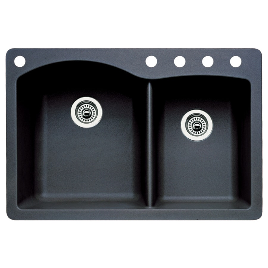 BLANCO Diamond 22-in x 33-in Anthracite Double-Basin Granite Drop-in or Undermount 5-Hole Residential Kitchen Sink
