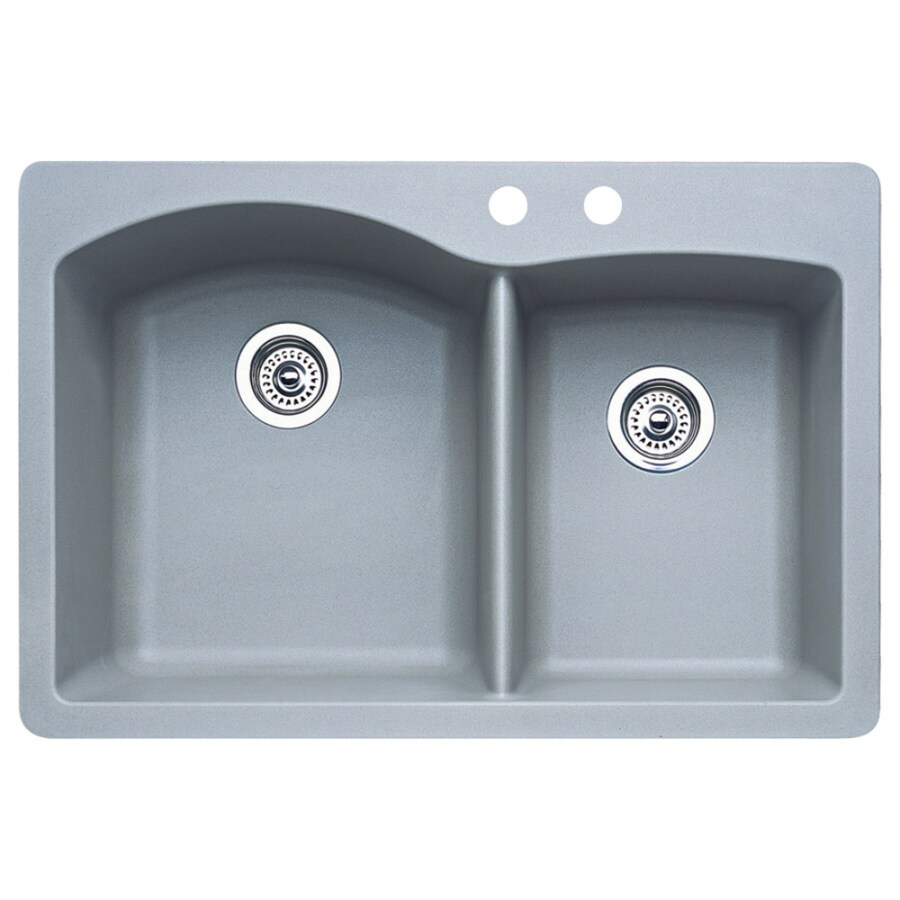 BLANCO Diamond 22.0-in x 33.0-in Metallic Gray Double-Basin Granite Drop-in or Undermount 2-Hole Residential Kitchen Sink