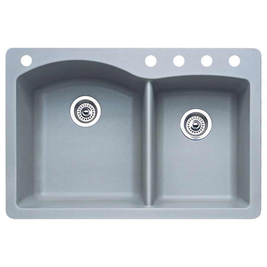 BLANCO Diamond 22-in x 33-in Metallic Gray Double-Basin Granite Drop-in or Undermount 5-Hole Residential Kitchen Sink