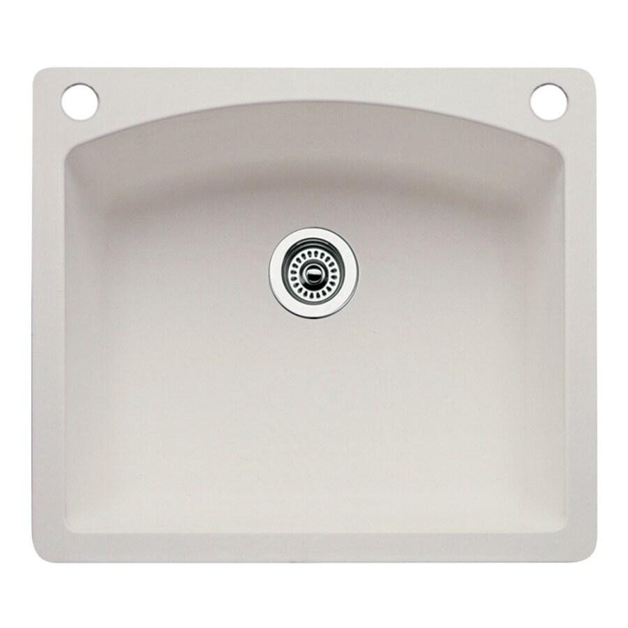 BLANCO Diamond 22.0-in x 25.0-in Biscuit Single-Basin Granite Drop-in or Undermount 2-Hole Residential Kitchen Sink