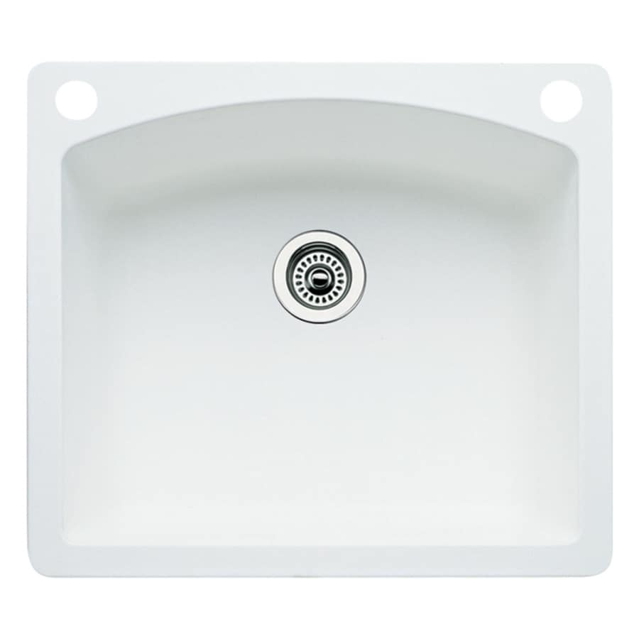 BLANCO Diamond 22.0-in x 25.0-in White Single-Basin Granite Drop-in or Undermount 2-Hole Residential Kitchen Sink