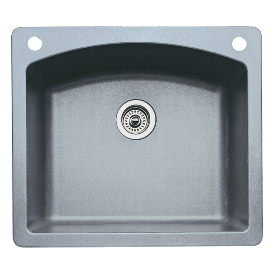 blanco drop in kitchen sinks shop blanco 22 in x 25 in metallic gray single 7918