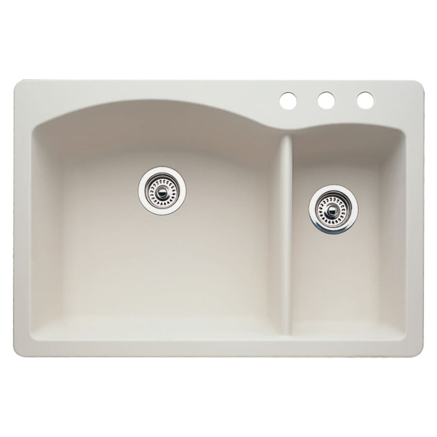 BLANCO Diamond 22-in x 33-in Biscuit Double-Basin Granite Drop-In 3-Hole Residential Kitchen Sink