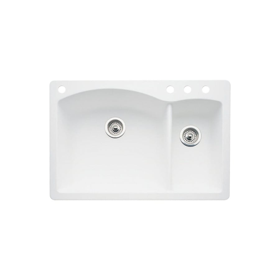 BLANCO Diamond 22-in x 33-in White Double-Basin Granite Drop-in or Undermount 4-Hole Residential Kitchen Sink