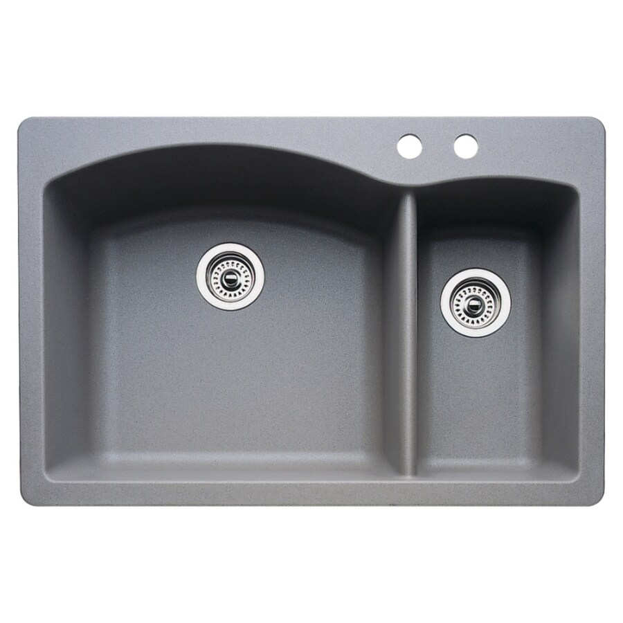 BLANCO Diamond 22-in x 33-in Metallic Gray Double-Basin Granite Drop-in or Undermount 2-Hole Residential Kitchen Sink