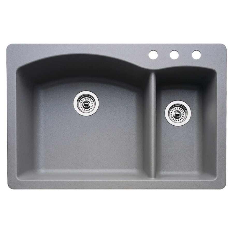 BLANCO Diamond 22.0-in x 33.0-in Metallic Gray Double-Basin Granite Drop-in or Undermount 3-Hole Residential Kitchen Sink